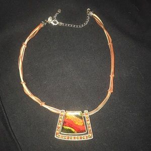 Southwest style leather and stone necklace